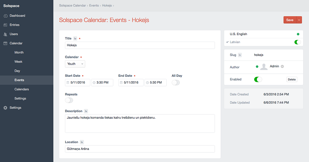 Control Panel - Create Event with Locales
