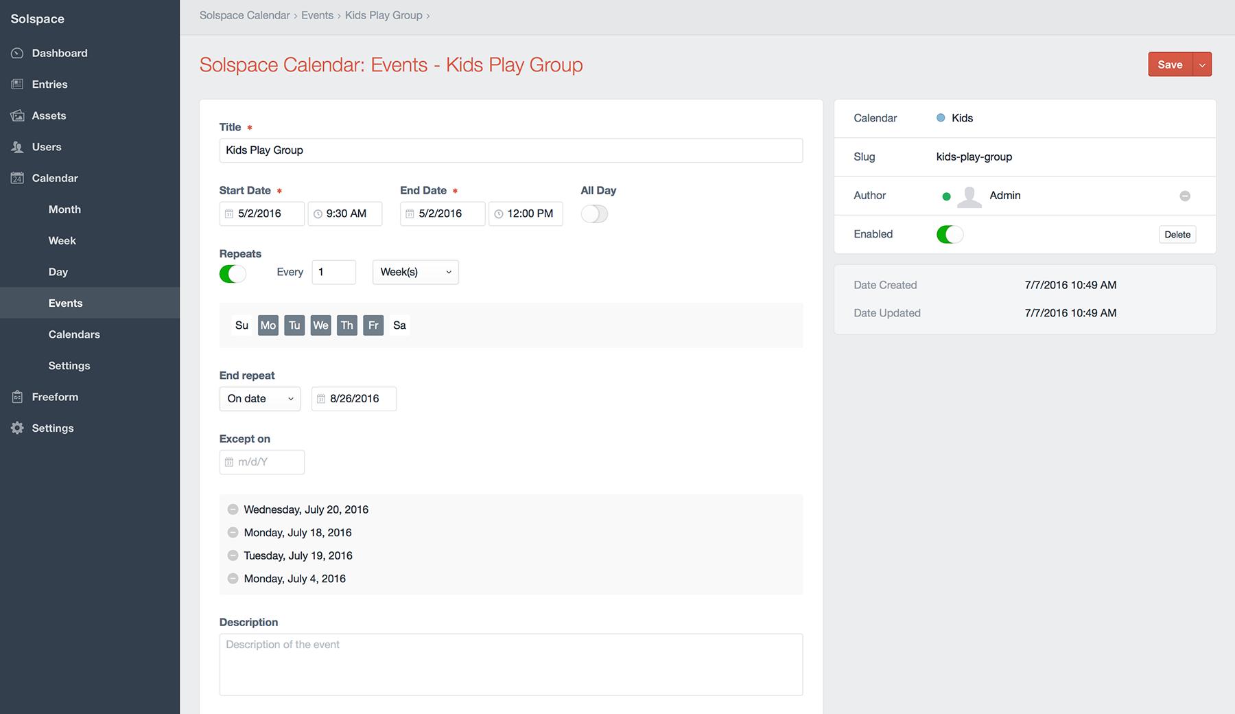 Control Panel - Create Event