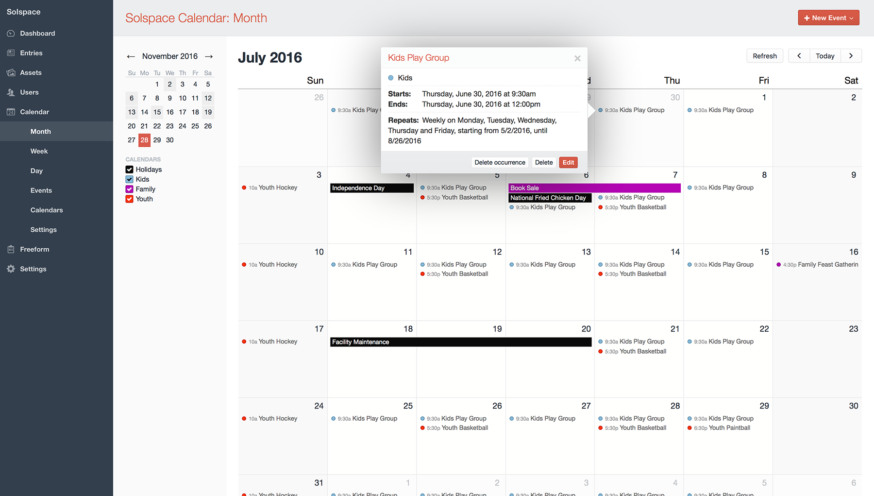 Control Panel - Month view with Sidebar (calendar filtering and mini calendar)