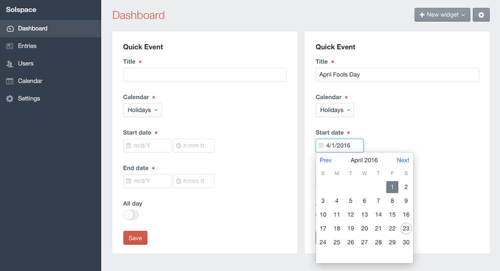 Control Panel - Quick Event Widget