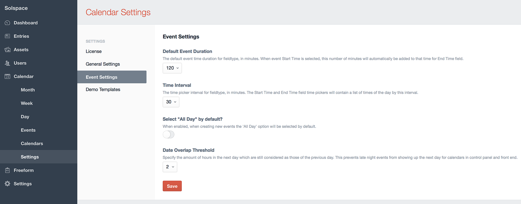 Control Panel - Event Settings