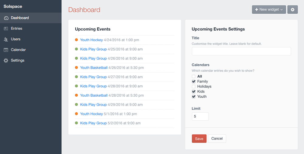 Control Panel - Upcoming Events Widget