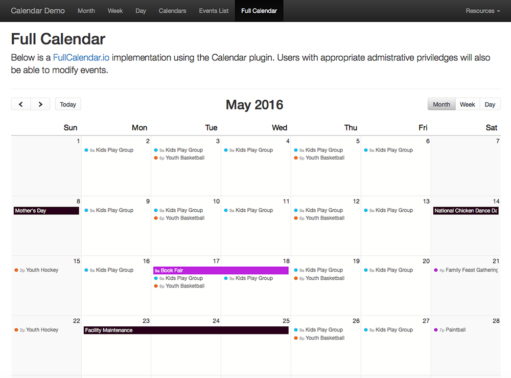 Demo Templates - Full Calendar library implementation (Month view)