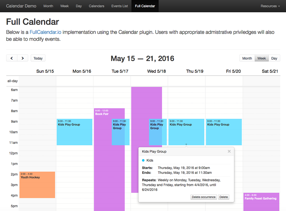 Demo Templates - Full Calendar library implementation (Week view)