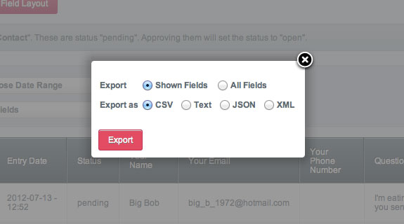 Freeform Control Panel: Exporting Data