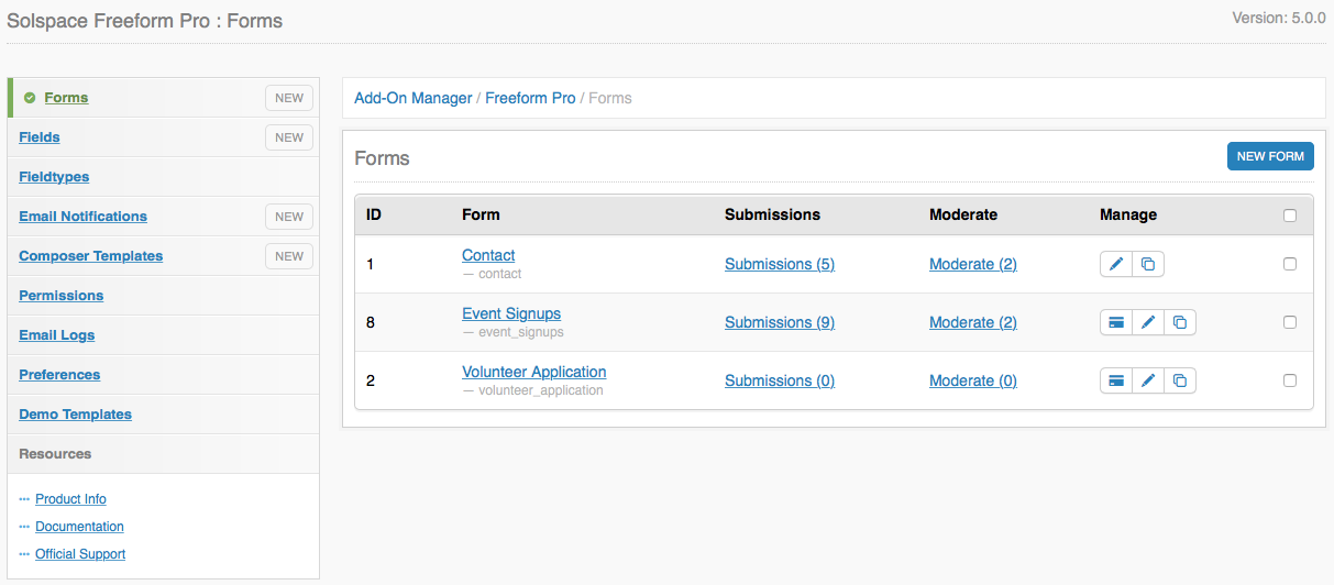 Freeform Control Panel: Forms List