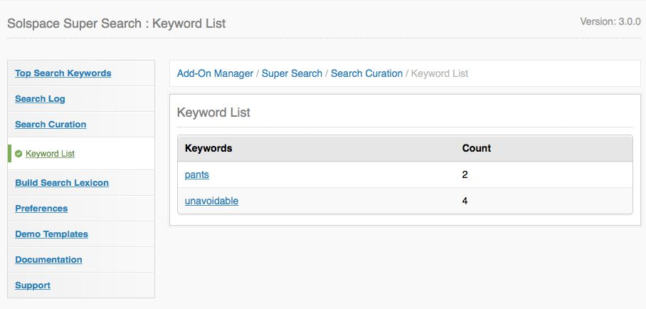 Search Curated Keywords List