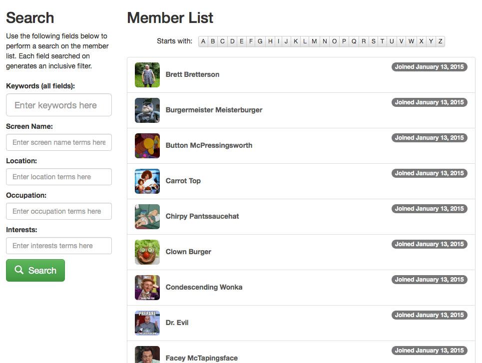 User Memberlist