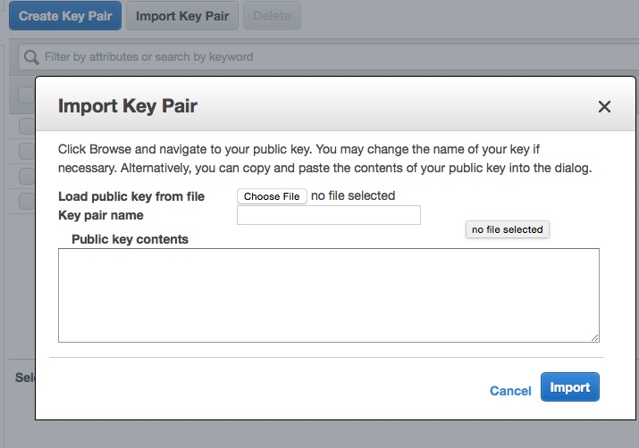 Import Key Pair